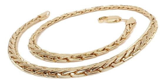 Cadena De Mujer Gargantilla De Oro Lamin 18k 45cm X 6mm