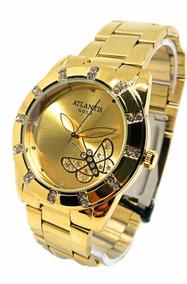 Relógio Feminino Fly Dourado Aprova D