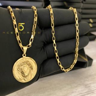 Correntinha Banhada A Ouro 18k Tijolinho Fina 4mm E 70cm Masculina + Pingente Medalha Face Cristo