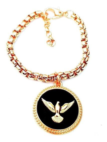 Pulseira Berloque Medalha Espírito Santo Aço Banhado A Ouro