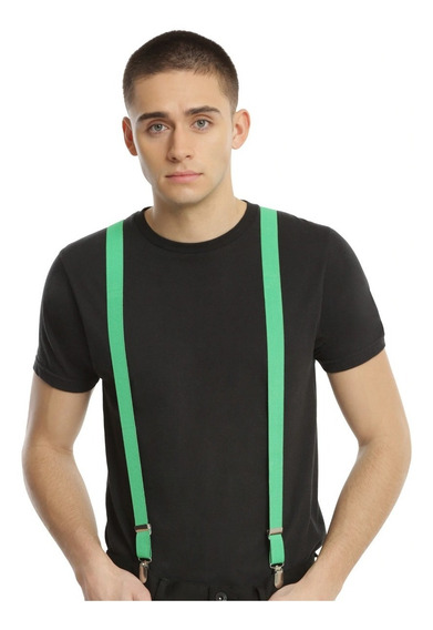 Hot Topic Tirantes Verde Lima Lime Green Suspender Nuevo Usa