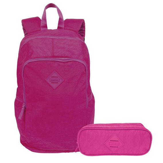 Kit Mochila De Costas Feminina Magic E Estojo Rosa Sestini