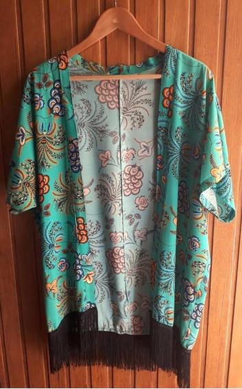 Kimono Turquesa Estampado Con Flecos