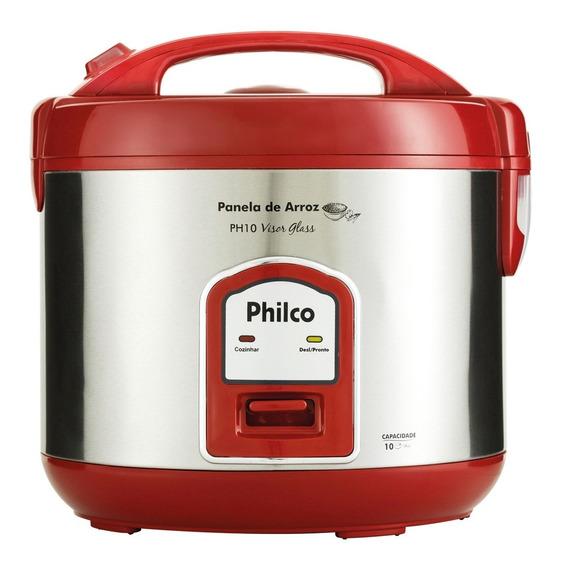 Panela De Arroz Philco Ph10 Visor Glass Vermelha 127v
