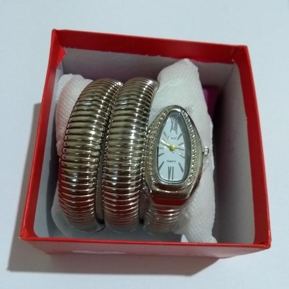 Relógio Branco De Pulso Feminino Cobra Luxuoso Cussi Promoção Barato