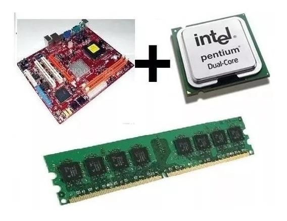 Kit Placa-mãe Lga 775 Ddr2 + Dualcore + 1gb Ddr2 + Cooler
