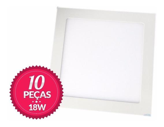 10 Painel Plafon 18w Led Branco Frio Embutir Quadrado 6000k