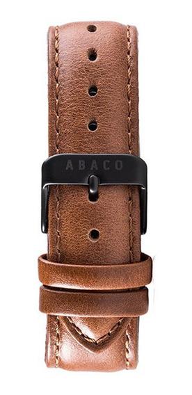 Correa Reloj Abaco 20mm Cuero Marron Hebilla Negra Malla