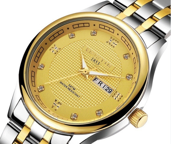 Relógio Marca Kingnuos Mod Km024 Original - Dourado