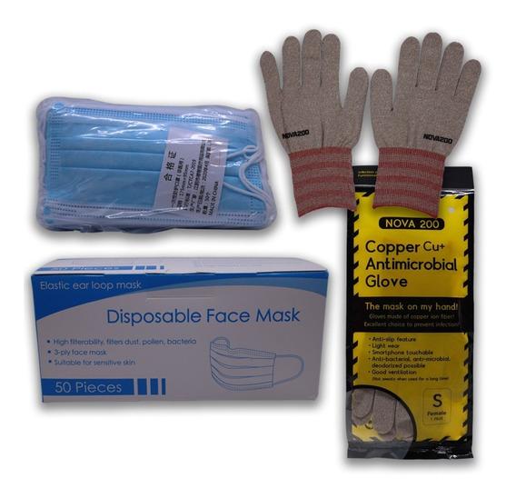 Cubreboca Tricapa 50 Con Guante Antibacterial Reusable