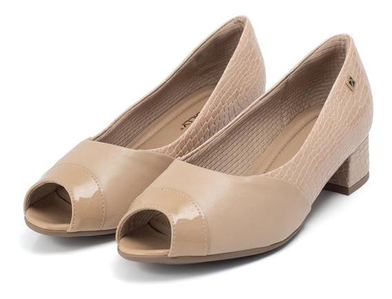 Sapato Peep Toe Piccadilly De Salto Baixo - Ref. 114018