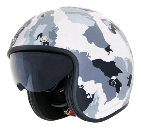 Casco Moto Abierto Con Visor X581 Militar Camuflado Blanco Punto Extremo