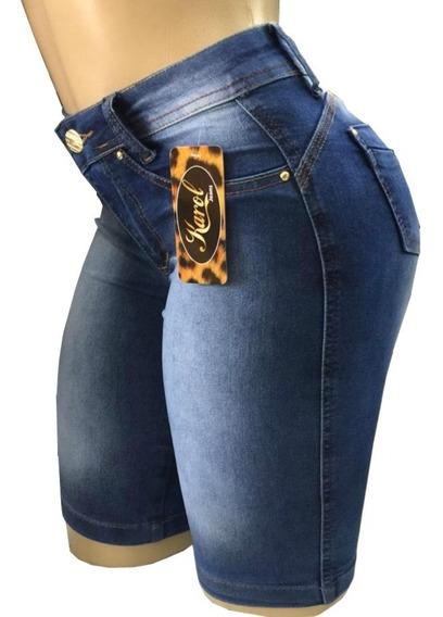 Kit 3 Short Bermuda Jeans Feminino Ciclista Cintura Alta