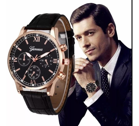Relógio Geneva Masculino Social Couro - Original