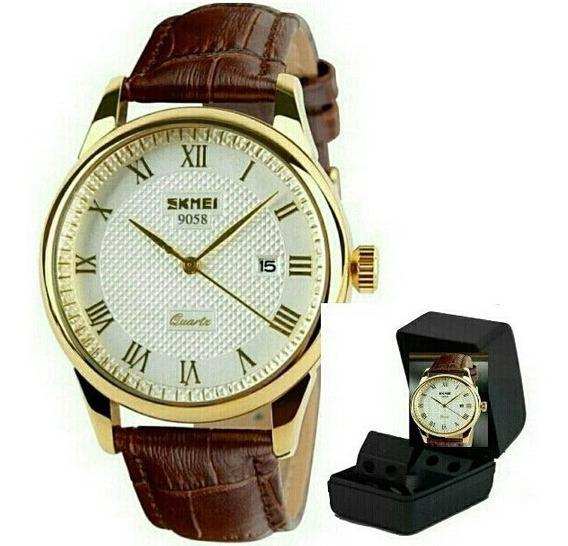 Relógio De Luxo Original Pulseira Couro Modelo 9058 Skmei