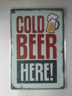 Placa Cartel Cerveza Fría Decorativo Anuncio Letrero Negocio