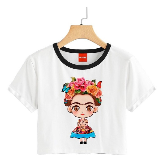 Blusa Frida Kahlo Mexico Colores Playera Crop 007