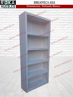 Biblioteca Asia 1.00x0.25x1.80 Patinado Blanco Pino Roka