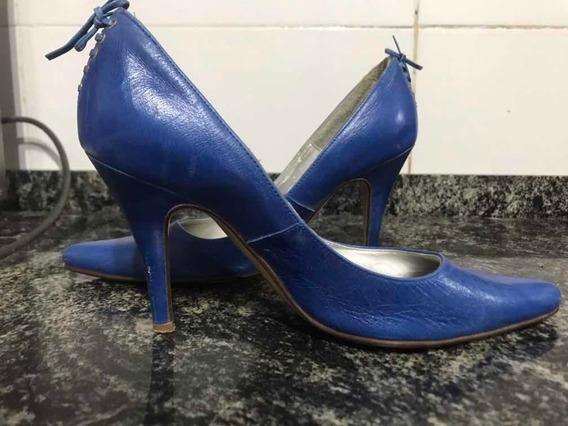 Stiletto Azul Num 38 Cuero