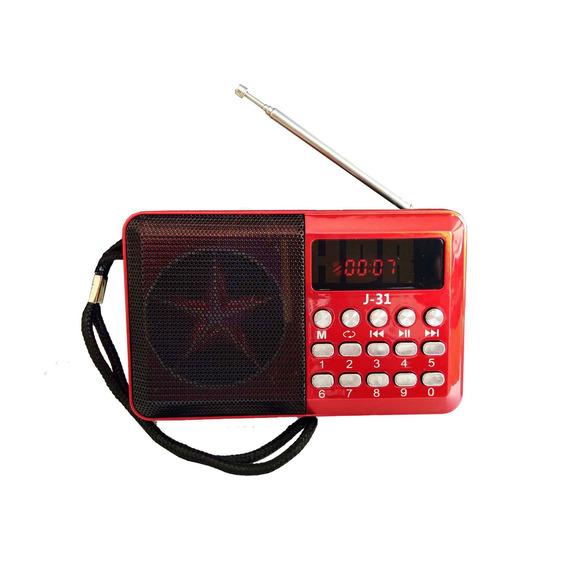 Mini Rádio Fm/usb/cartão De Memória J-31 Altomex - Vermelho