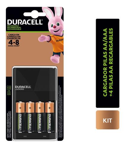 Imagen 1 de 3 de Pack 4 Pilas Duracell Recargables Aa + Cargador Pilas Aa/aaa