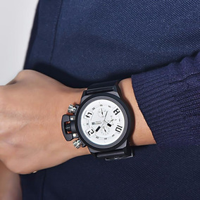 Relógio De Pulso Branco Top- Pulseira Silicone Black Com Cx