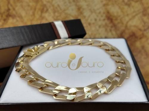 Pulseira Masculina 100% Ouro 18k 35gr Luxo Fecho Gaveta Top
