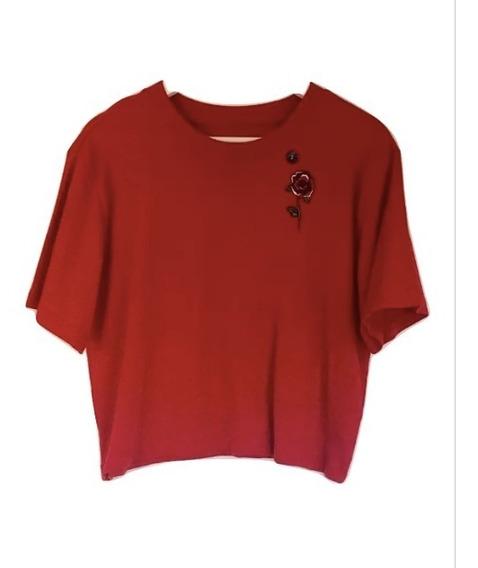 Remera Algodón Hollister Roja Con Rosa Usa Original