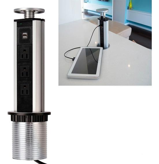 Multicontacto Torre Usb Para Cocina, Oficina, Sala De Juntas