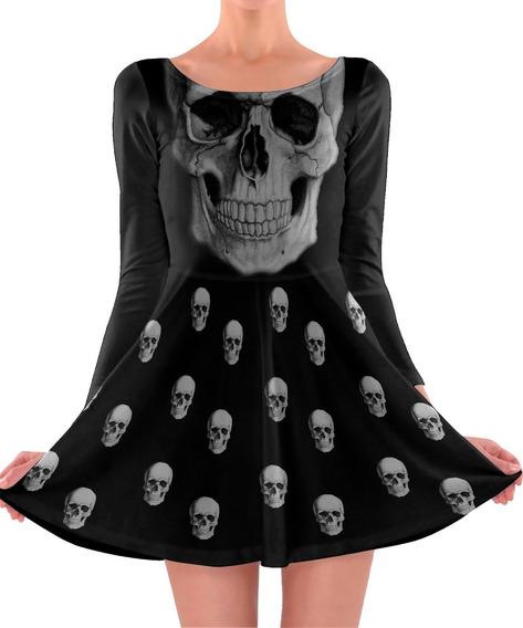 2 Vestidos Boneca Printfull Caveirinhas You Rock Crow Skull