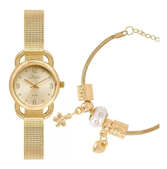 Relógio Feminino Condor Dourado Pequeno + Pulseira Berloques