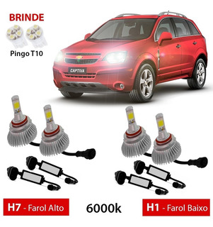 Kit Super Led H7 H1 Captiva 2008 2014 Farol Alto Baixo Xenon