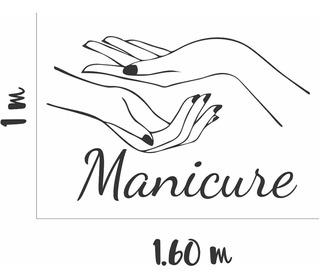 Adesivo Parede Salão Beleza Manicure Unha Nail Mãos Estética
