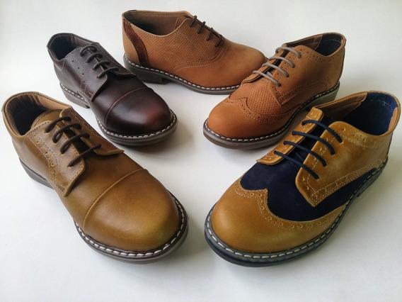 Zapatos Para Niño Oxford Casuales Cuero