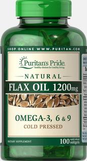 Óleo De Linhaça Flax Oil 1200mg 100 Softgels Puritan