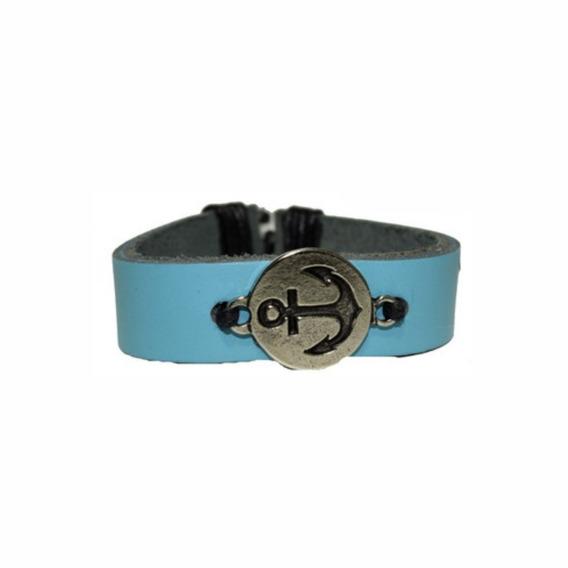 Pulseira Âncora Azul - Couro Sintético Bracelete