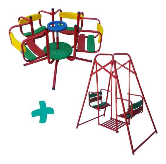 Hamaca Gemela + Calesita Infantil Para Niños - Plaza Jardin