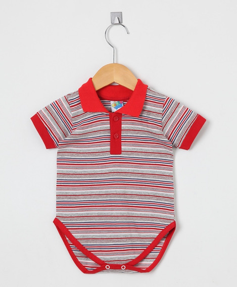 Body Bebê Menino Gola Polo Manga Curta