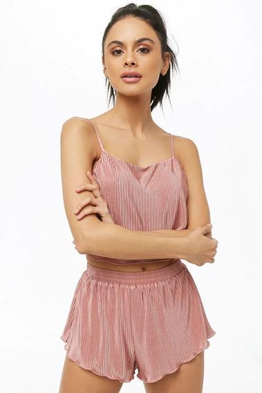 Forever 21 Set Pijama Short Y Top Rosa Satinado Lenceria
