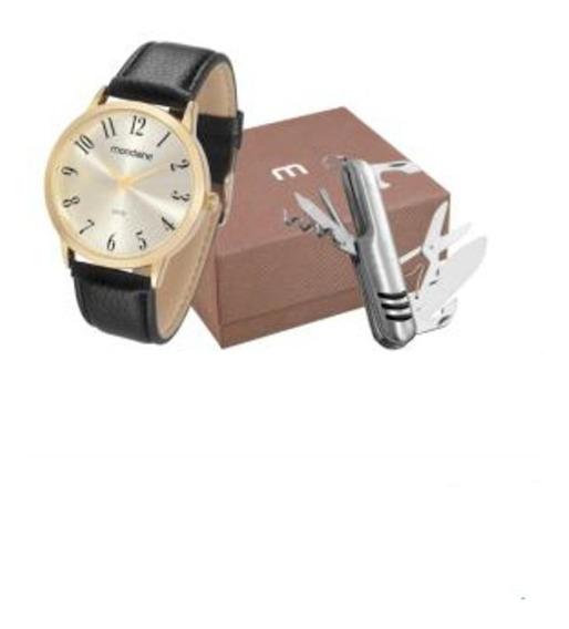 Relógio Mondaine C/ Caixa Em Aço Dourado E Pulseira Em Couro