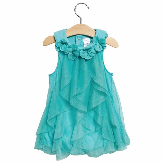 Vestido Bebê Malha Tule Verde 18-24 Meses Importado