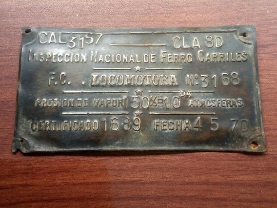 Antigua Placa Cartel Ferrocarril Locomotora Vapor.