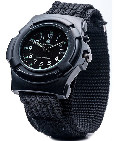 Smith & Wesson Mens Lawman Nylon Strap Watch Black