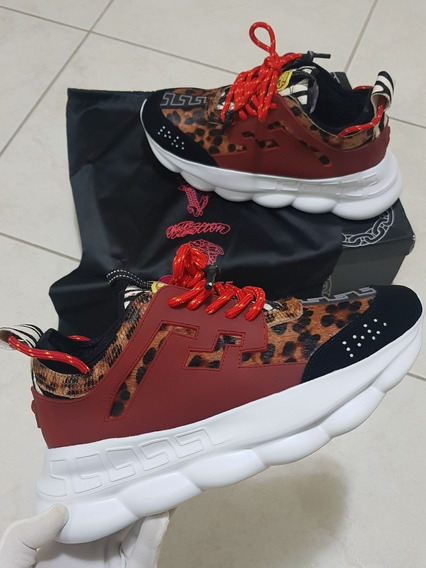 Tenis Versace Chain Reaction Animal Print Fotos Reais