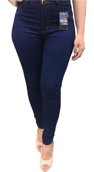 Calça Jeans Feminina Lycra Cintura Alta Levanta Bum Bum