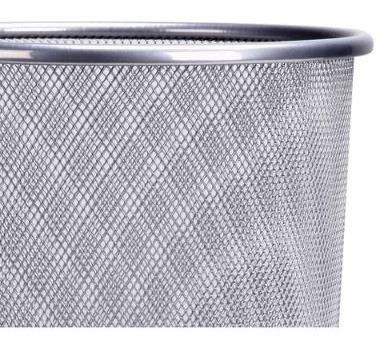 Lixeira Telada Escritorio Cesto De Lixo Cinza Redonda De Aço