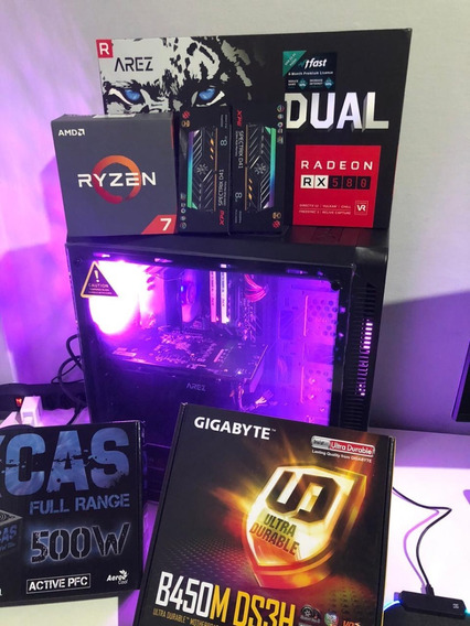 Pc Gamer Ryzen 7 16gb Rgb 256gb Ssd 2tb Hd Rx 580 8gb