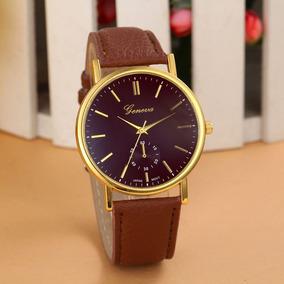 Relógio Feminino Geneva Original Pulseira De Couro Marrom
