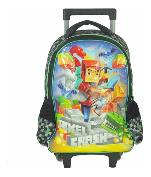 Mochilete Escolar Infantil Menino Pixel Crash Rodinhas Cinza