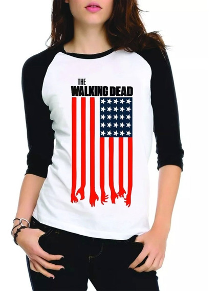 Camisa Camiseta The Walking Dead Raglan Manga 3/4 Feminina
